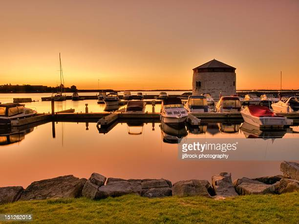 marina sunrise - kingston ontario stock photos and pictures