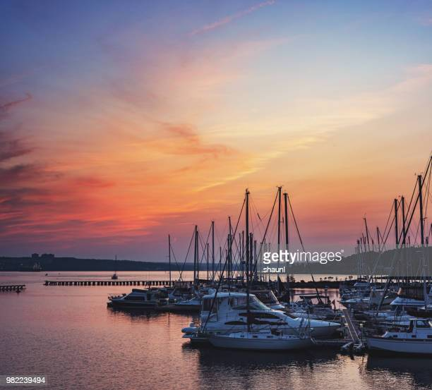 marina sunset - moored stock pictures, royalty-free photos & images
