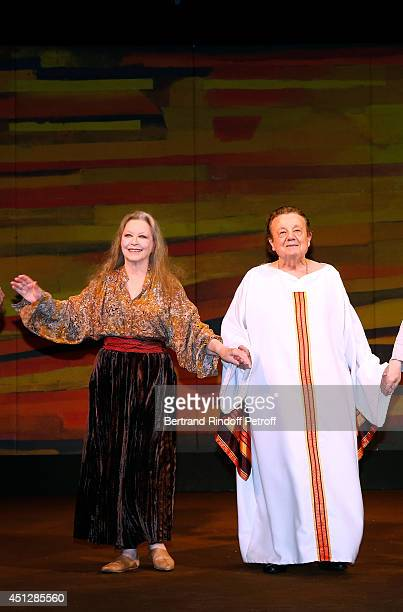 Marina Vlady and Marcel Marechal hi the public at the end of 'Le Cavalier seul' Theater Play at Theatre 14 on June 26 2014 in Paris France