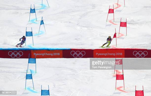 Marina Wallner of Germany and Petra Vlhova of Slovakia compete during the Alpine Team Event on day 15 of the PyeongChang 2018 Winter Olympic Games at...