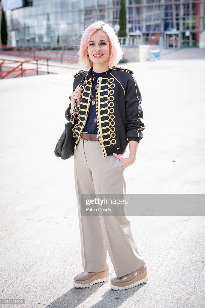 Marina wears Stella McCartney shoes Chloe trousers, Bimba y Lola pullover and La Condesa jacket on January 22, 2017 in Madrid, Spain.