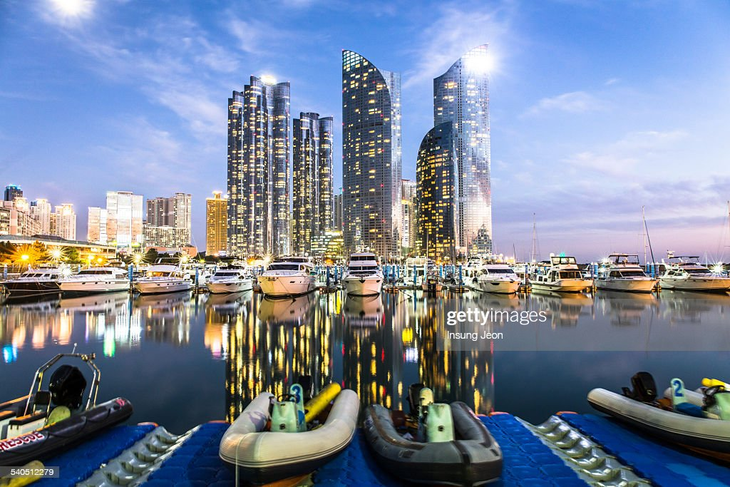 Marina Yacht harbor at night : Stock Photo