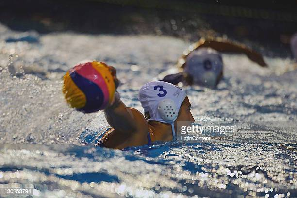 Marina Zablith of Brazil in the Women's Waterpolo Match in the 2011 XVI Pan American Games at Scotiabank Aquatic Center on October 25 2011 in...