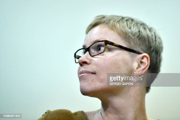 Marina Zolotova editorinchief of news portal tutby attends a hearing over the socalled BelTA case a case charging a number of Belarus' journalists...