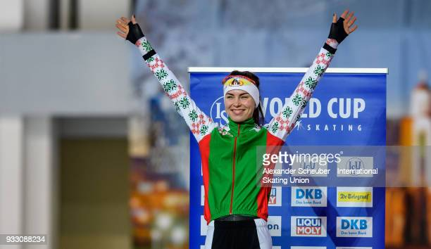 Marina Zueva of Belarus celebrates winning second place in the Ladies 3000m Final during the ISU World Cup Speed Skating Final at Speed Skating Arena...