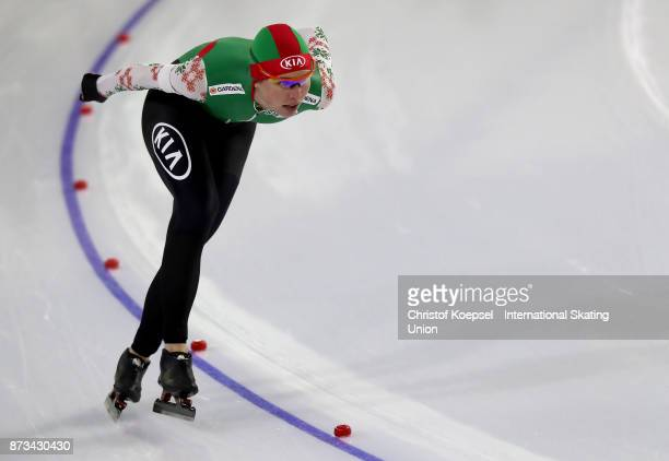 Marina Zueva of Belarus competes during the ladies 3000m Division A race on Day Three during the ISU World Cup Speed Skating at the Thialf on...