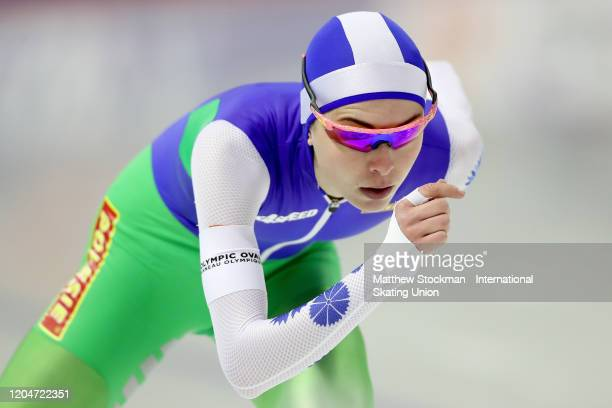 Marina Zueva of Belarus competes in the final of the Ladies 3000 Meter during the ISU World Cup Speed Skating at the Olympic Oval on February 07 2020...