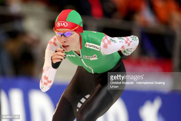 Marina Zueva of Belarus competes in the ladies 3000m Division A race during Day 3 of the ISU World Cup Speed Skating at GundaNiemannStirnemannHalle...