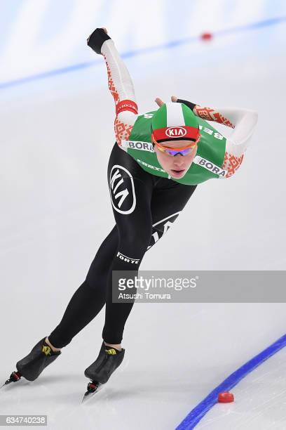 Marina Zueva of Belarus competes in the ladies 5000m during the ISU World Single Distances Speed Skating Championships Gangneung Test Event For...