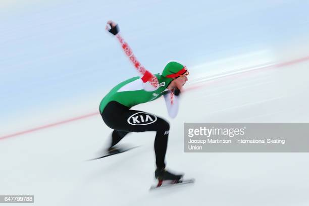 Marina Zueva of Belarus competes in the Ladies 500m during World Allround Speed Skating Championships at Viking Skipet Hamar Olympic Hall on March 4...