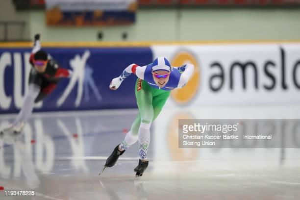 Marina Zueva of Belarus performs in Women`s 1500m race during the ISU World Cup Speed Skating at on December 8 2019 in NURSULTAN Kazakhstan