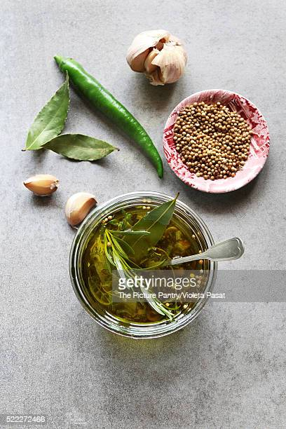 Marinade made from garlic,chilli,coriander and rosemary.Top view