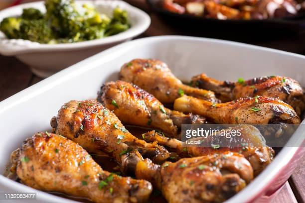 marinated chicken legs - chicken meat stock pictures, royalty-free photos & images
