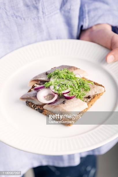 aringhe marinate con cipolla e aneto. - cultura danese foto e immagini stock