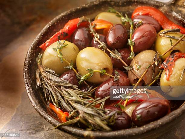 marinated olives - roasted pepper stock photos and pictures
