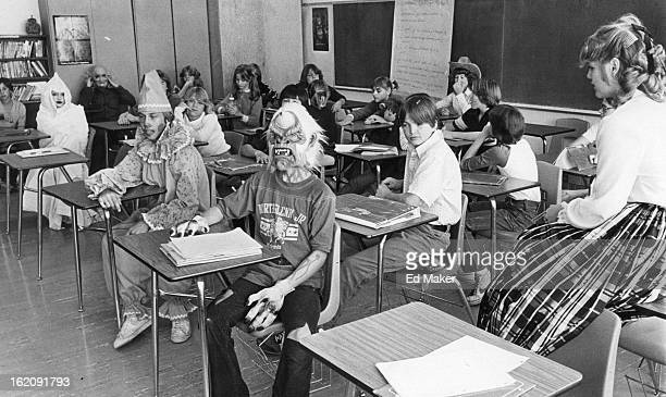 OCT 20 1980 OCT 26 1980 Marine Allen's Eighthgrade class at Northglenn Junior High displays costume ideas for UNICEF mall contest for ages 1 to 12 to...