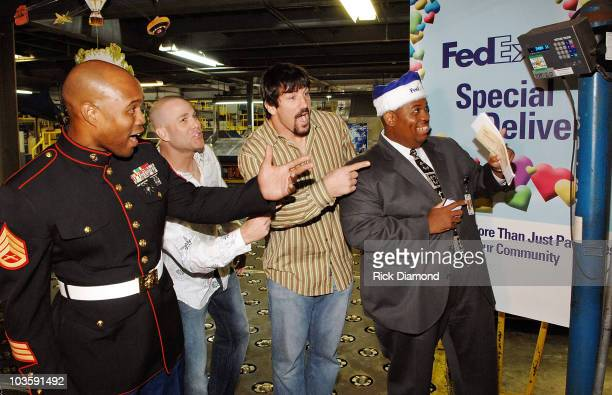 US Marine Allinzo Todd Atlanta Braves Tim Hudson Atlanta Falcon Keith Brookings and Fed Ex Keith Smith excited as the weight total comes in In an...