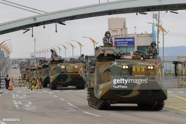 Marine and Navy take part in an annual military exercise near Pohang port in Pohang South Korea on 5 April 2018 The United States and South Korea...