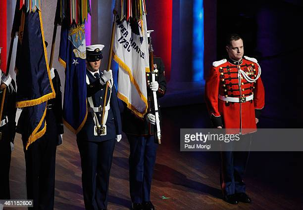 Marine Band Vocalist Master Sergeant Kevin Bennear performs onstage at The Lincoln Awards A Concert For Veterans The Military Family presented by The...
