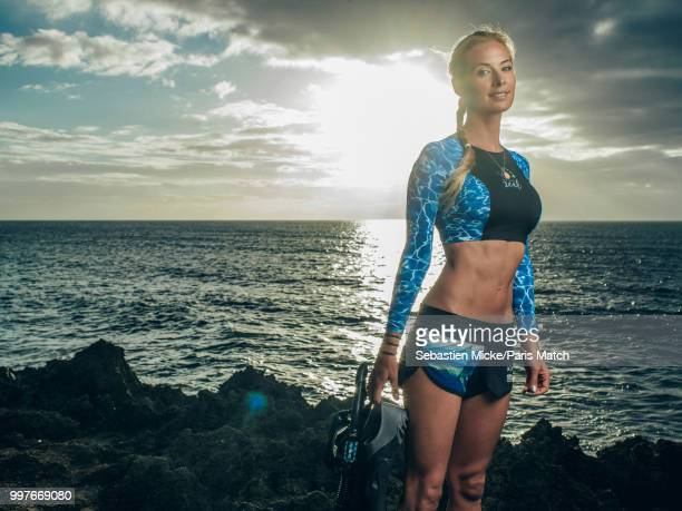 Marine biologist and conservationist Ocean Ramsey is photographed for Paris Match on the Hawaiian beach of Haleiwa on July 4 2018