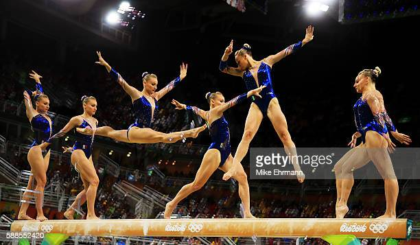 Marine Brevet of France competes on the balance beam during the Women's Individual All Around Final on Day 6 of the 2016 Rio Olympics at Rio Olympic...