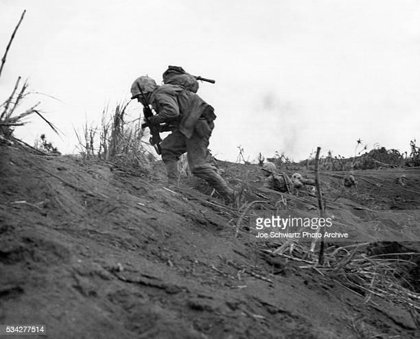 Marine Charges up Hill on Iwo Jima