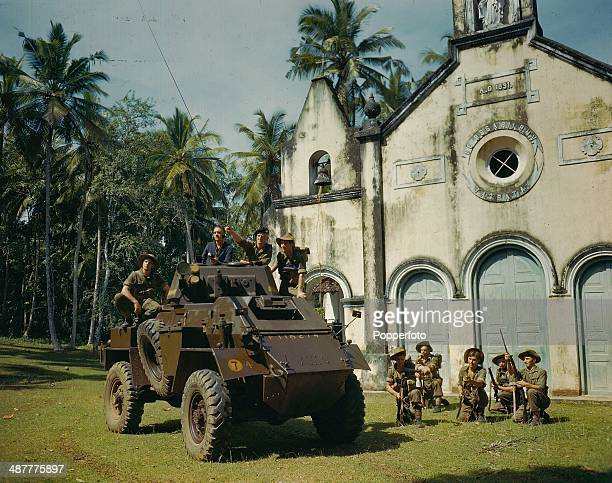 1945 Marine Commando Soldiers in an armored car preparing to move out in Ceylon during World War Two Sri Lanka January 1945