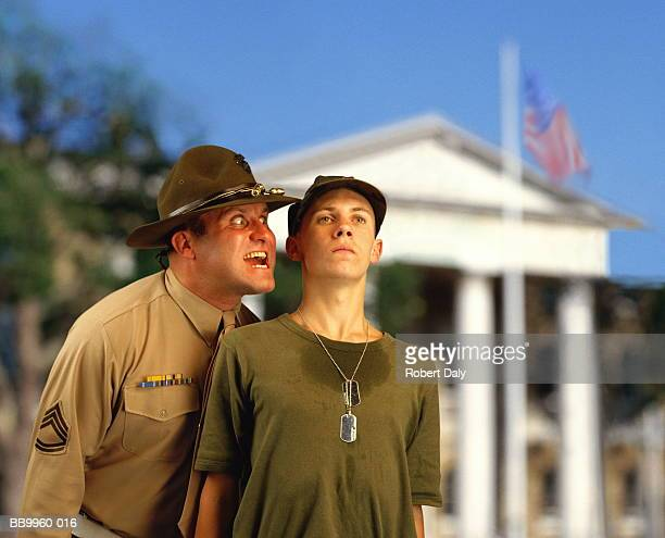 US Marine Corp sergeant shouting at new recruit (Digital Composite)