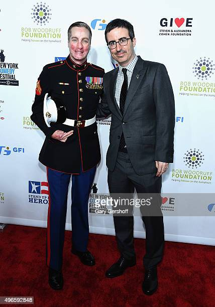 S Marine corporal Aaron Mankin and comedian John Oliver attend the New York Comedy Festival and the Bob Woodruff Foundation's 9th Annual Stand Up For...
