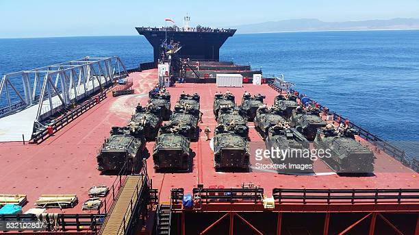 u.s. marine corps aav7a1 amphibious assault vehicles aboard usns montford point. - military convoy stock photos and pictures