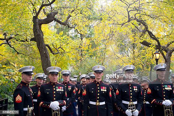 A marine corps band lines up for a Veteran's Day ceremony and parade in New York City Once a sleepy affair New York's veteran's day parade has become...