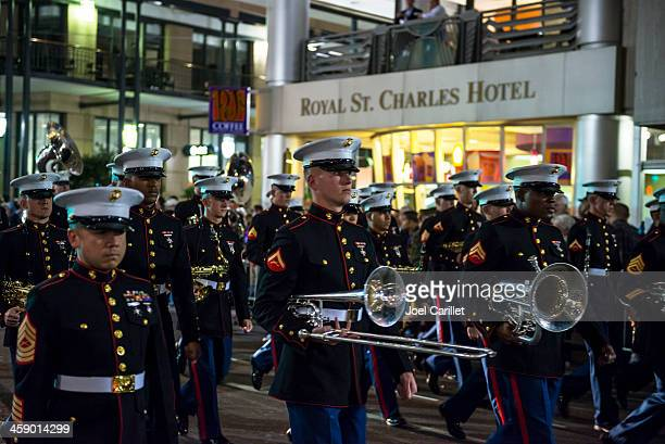 u.s. marine corps band marching at mardi gras - mardi gras parade stock photos and pictures