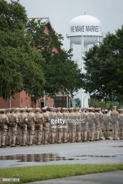 marine corps basic training at parris island, south carolina - parris island stock photos and pictures
