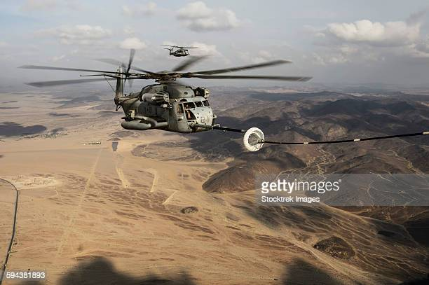 A U.S. Marine Corps CH-53E Super Stallion refueling over the Horn of Africa.