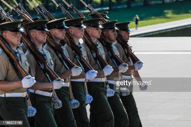 us marine corps color guard ceremonies - rank stock pictures, royalty-free photos & images