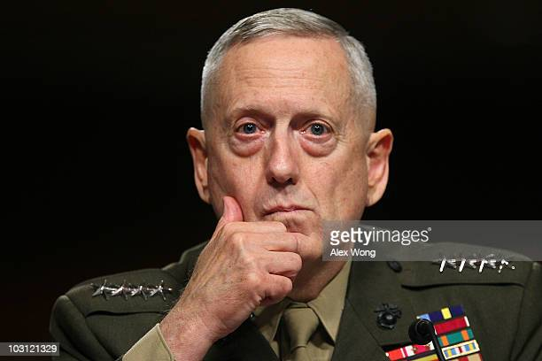 Marine Corps Gen James Mattis listens during his confirmation hearing July 27 2010 on Capitol Hill in Washington DC Mattis will become the next...