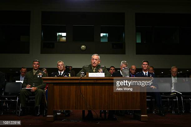 Marine Corps Gen. James Mattis speaks during his confirmation hearing July 27, 2010 on Capitol Hill in Washington, DC. Mattis will become the next...