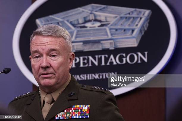 Marine Corps Gen. Kenneth McKenzie, commander of U.S. Central Command, participates in a press briefing October 30, 2019 at the Pentagon in...