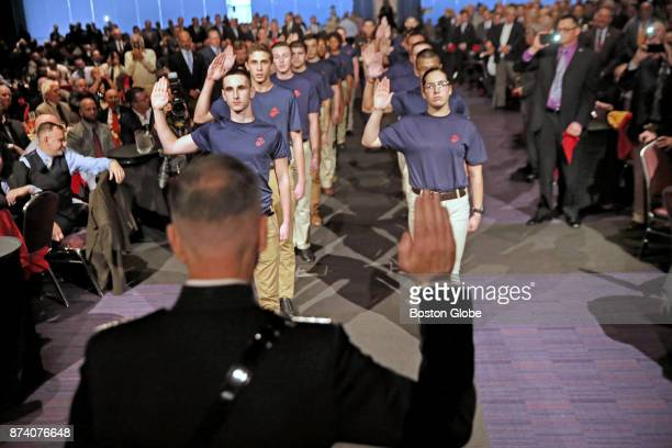 Marine Corps General Joseph Dunford Chairman of the Joint Chiefs of Staff swears in US Marine recruit candidates during the 242nd Birthday of the...