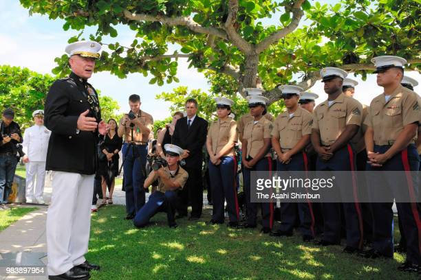 US Marine Corps Lieutenant general Lawrence Nicholson speaks to officers at the Cornerstone of Peace where the names of their bereaved family members...