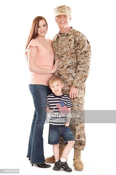 U S Marine Corps soldier & Family