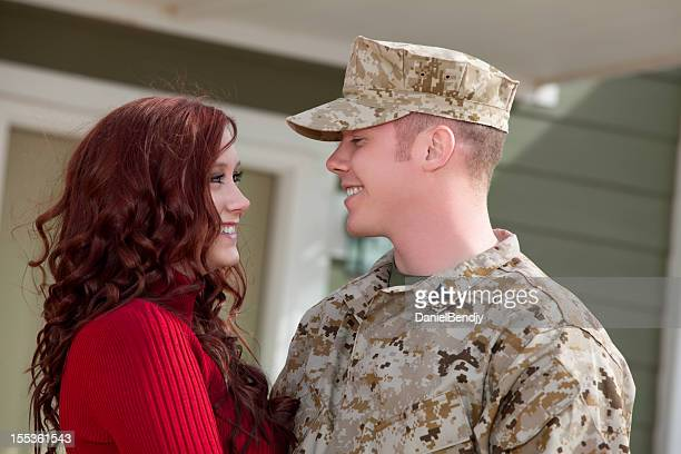 U S Marine Corps soldier with wife outdoor