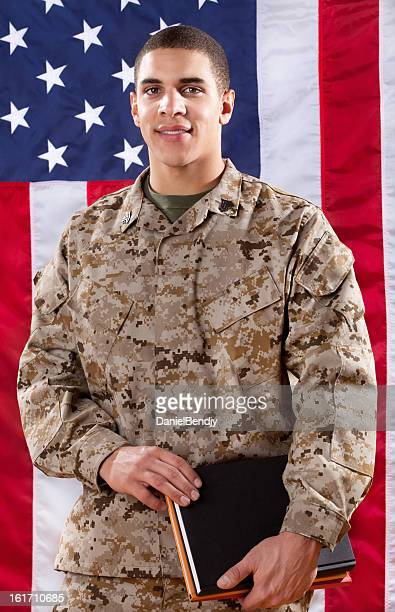 us marine corps solider portrait - marine corps flag stock pictures, royalty-free photos & images