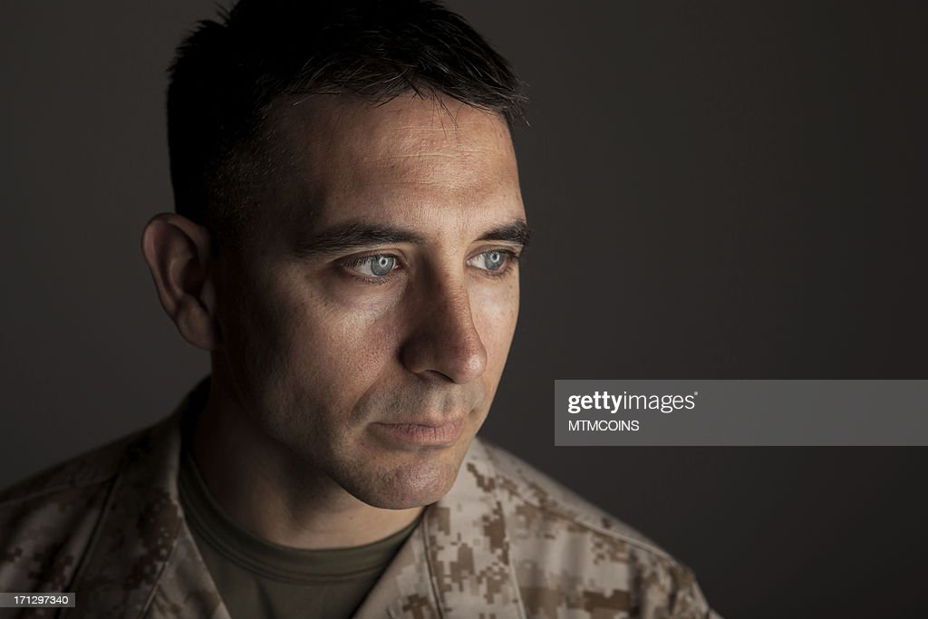 Marine Deep in Thought : Stock Photo