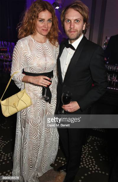 Marine Delterme and Florian Zeller attend The Olivier Awards 2017 after party at Rosewood London on April 9 2017 in London England