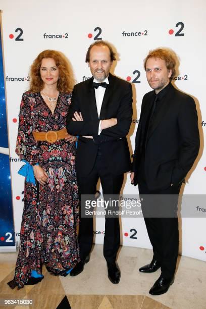 Marine Delterme JeanMarc Dumontet and Florian Zeller attend Ceremonie des Molieres 2018 at Salle Pleyel on May 28 2018 in Paris France