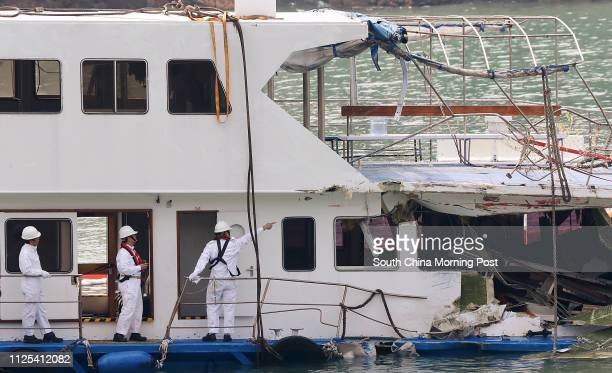 Marine Department staff inspect the Lamma IV which sits docked at Nga Kau Wan in Lamma Island 04OCt12