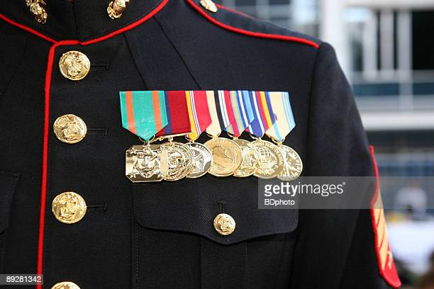 us marine displaying his medals - marines military stock photos and pictures