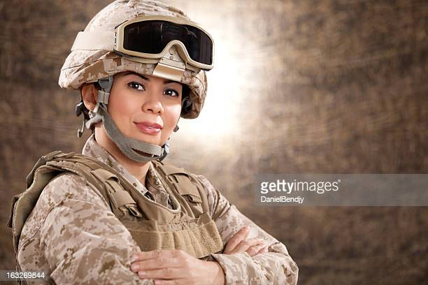 us marine female soldier in combat gear - marines military stock photos and pictures