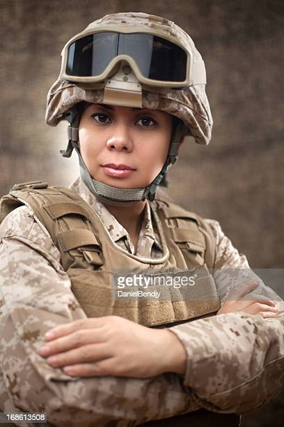 us marine female soldier in combat gear - us marine corps stock pictures, royalty-free photos & images